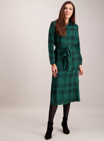 Green Check Midi Shirt Dress