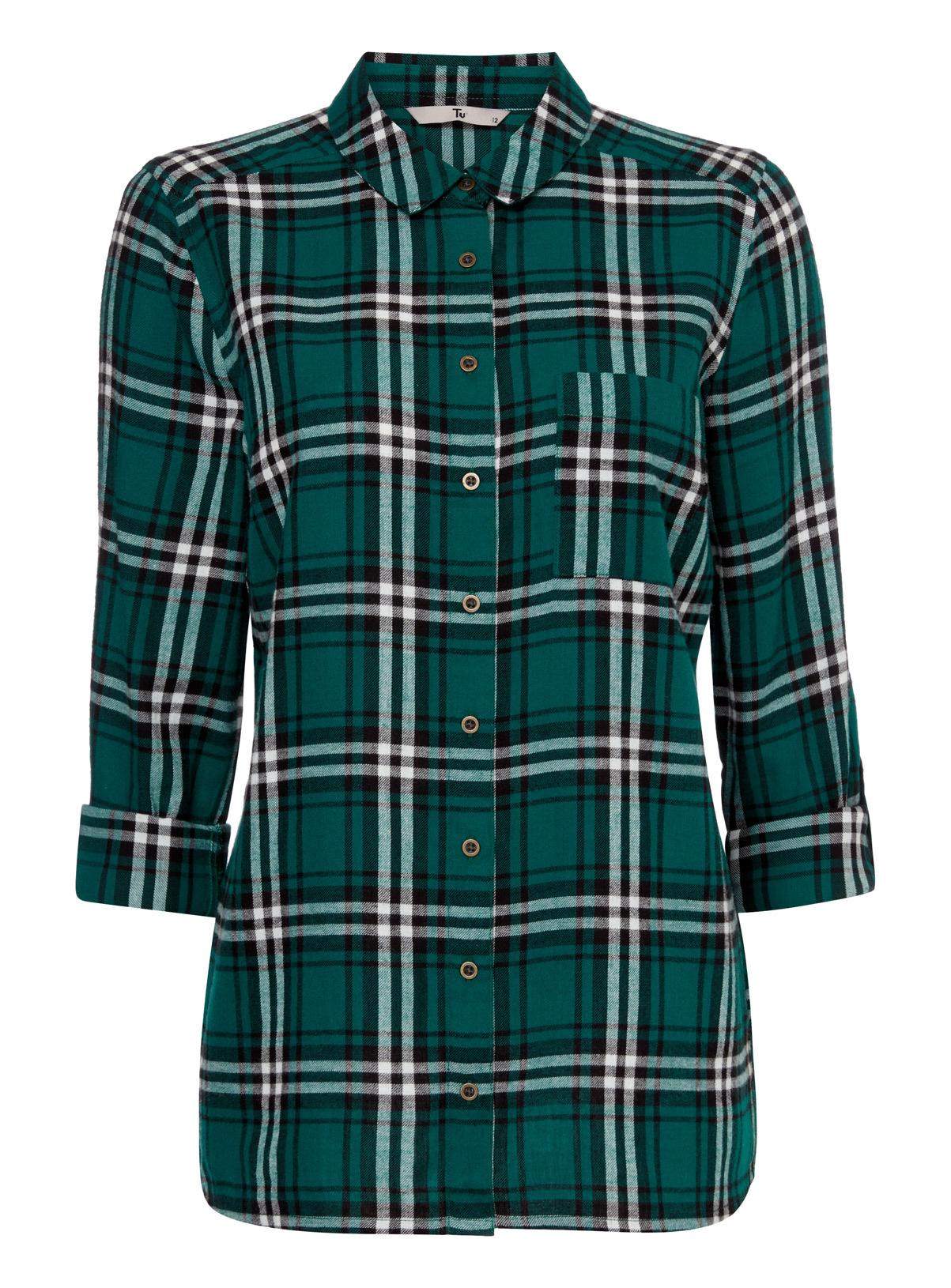 Womens Green Checked Shirt Custom Shirt