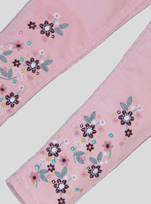 Pink Embroidered Cord Jeans (9 Months - 6 Years)