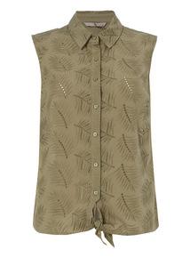 Khaki Leaf Tie Front Shirt