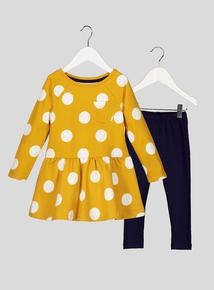 Yellow Polka Dot Dress and Leggings Set (9 months-6 years)