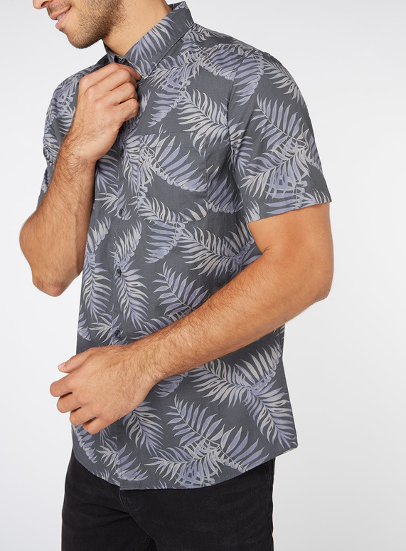Blue Leaf Print Slim Fit Shirt
