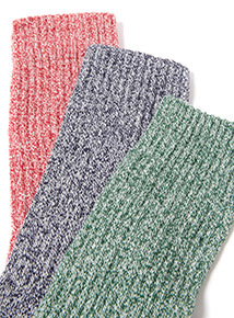 5 Pack Cushioned Footbed Colour Twist Socks
