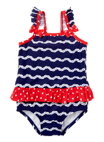 Girls Navy Striped Costume With Swim Nappy (3 months - 5 years)