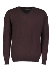 Oxblood Red Marl V-Neck Jumper