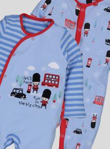 Blue London Themed Sleepsuits 2 Pack (Newborn -24 Months)