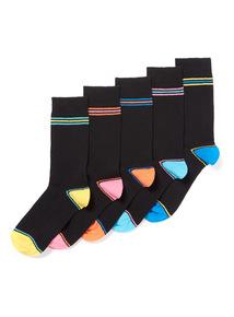 5 Pack Black Stripe Heel Socks