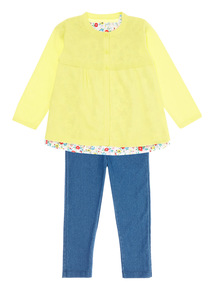 Girls Multicoloured Cardi Top and Jeggings Set (0-24 months)