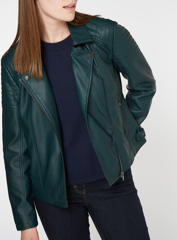 Womens Dark Green Faux Leather Biker Jacket Tu Clothing