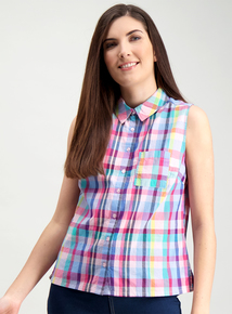 a1e3e34c1b3 Multicoloured Check Sleeveless Shirt