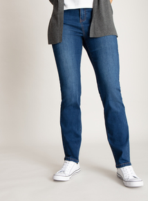 Blue Mid Denim Straight Leg Jeans