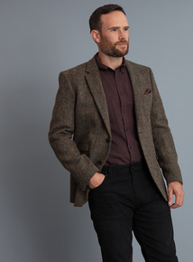 Harris Tweed Brown Checked Tailored Fit Blazer