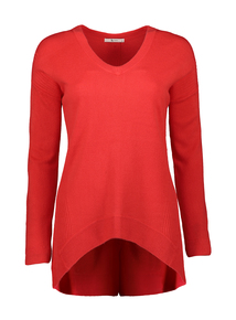 Red Soft Touch Button Back Jumper
