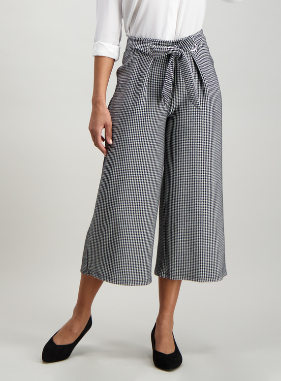 8ba9a1e5472a Womens Monochrome Dogtooth Wide Leg Culottes