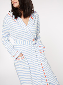 Blue and White Striped Longline Dressing Gown