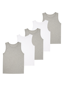 Boys Multicoloured Vests 5 Pack (18 months - 12 years)