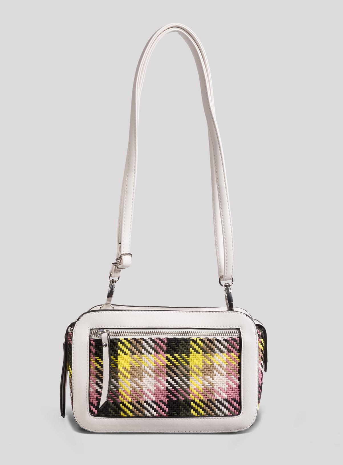 Women's White & Neon Check Camera Bag