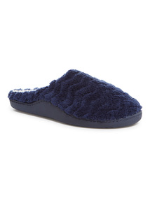 Navy Quilted Slippers