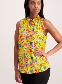 Online Exclusive Yellow Floral Ruched Neck Top