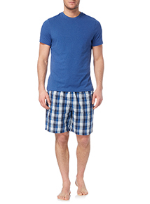 Blue Poplin Check T-shirt and Short Set