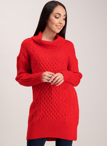Red Cable Knit Tunic Dress