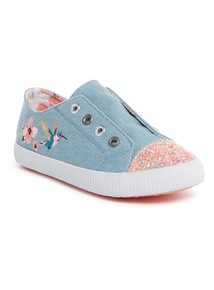 Multicoloured Denim Embroidered Trainers (10 Infant-4 Child)