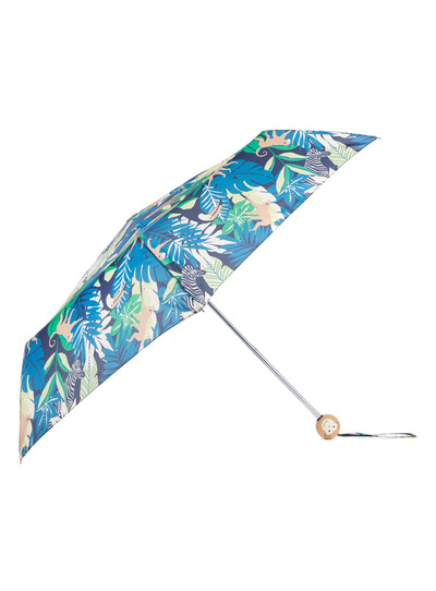 Multicoloured Leaf Print Monkey Handle Umbrella