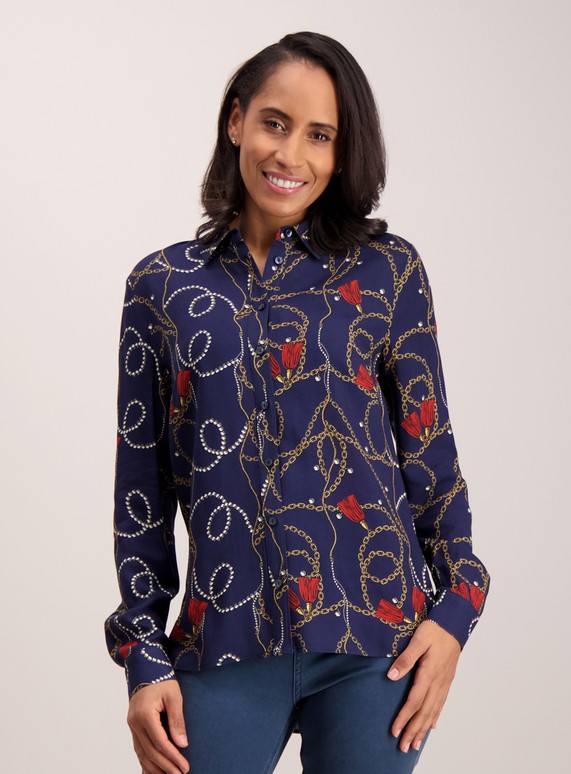 e80b71f23271 Womens Navy Blue Chain Print Shirt