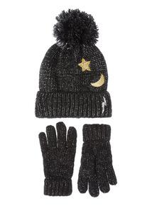 Black Metallic Moon Star Beanie & Glove Set (3-12 years)