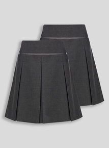 Grey Permanent Pleat Skirt 2 Pack (3-16 years)