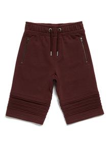 Dark Red Ribbed Shorts (3-14 years)