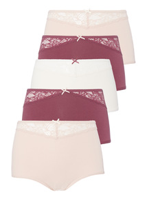 Red Lace Trim Full Brief 5 Pack