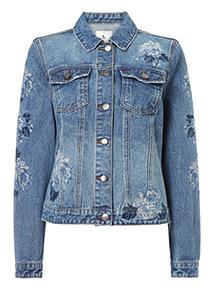 Mid Denim Cross Stitch Embroidered Jacket