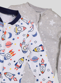 Spaceship Long Sleeve Sleepsuits 2 Pack (Newborn- 24 months)