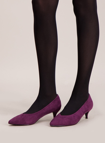Sole Comfort Purple Kitten Heel Court Shoes