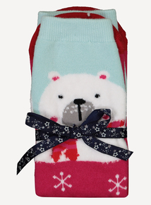 Christmas Multicoloured Polar Bear Slipper Socks