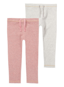 Pink Two Pack Ribbed Legging (0-24 months)