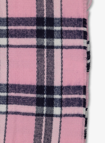 Pink Check Blanket Scarf (one size)