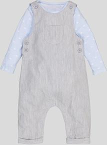 Grey Dungaree 2 Piece Set (Newborn - 12 Months)