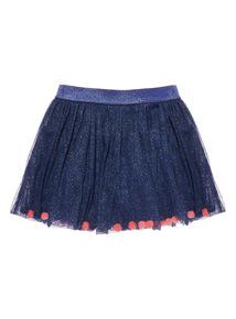 Navy Pom Pom Skirt (9 months - 5 years)
