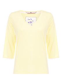 Lemon Yellow Lace Detail Pyjama Top