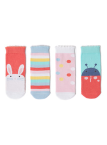 4 Pack Multicoloured Playday Socks (0-24 months)