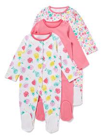 3 Pack Pink Fruit Sleepsuits (Newborn-24 months)