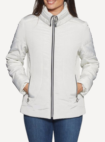 DAVID BARRY White Warm Quilted Jacket