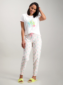 1a892a7449ca Cream   Pink Aloe Plant Print Pyjamas