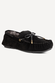 Black Suede Lace Moccasin Slippers