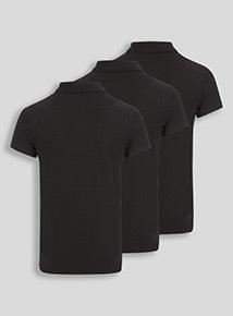 Unisex Black Polo Shirts 3 Pack (3-16 years)