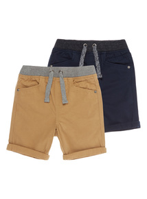 Boys Multicoloured Twill Shorts With Rib Waist 2 Pack (3-12 years)