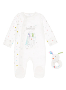 Girls White Snowdog Sleepsuit And Rattle (0-24 months)