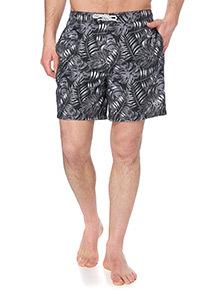 Black Leaf Patterned Board Shorts